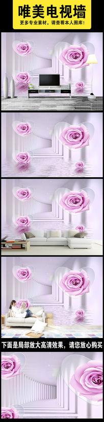 紫色玫瑰立体圆水语倒影时尚3D背景墙