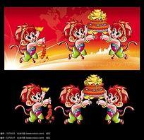 猴子吉祥物猴年会议背景