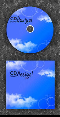 蓝色简洁光碟封面