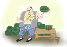 原创手绘大伯卖西瓜插画