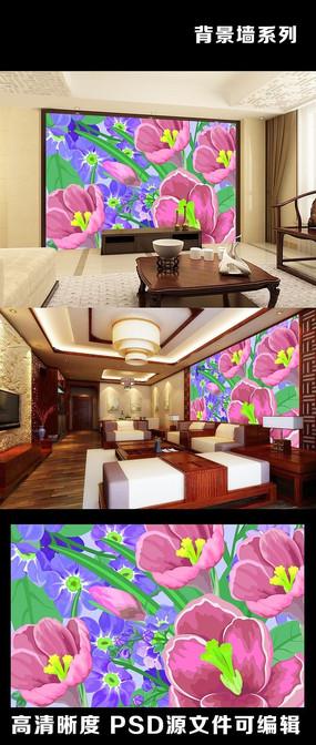3d立体简约现代花花朵花纹粉红色背景墙