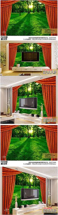 逼真3D立体窗帘树林电视背景墙高清图下载