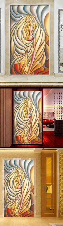 高清欧式抽象人物立体油画玄关背景墙