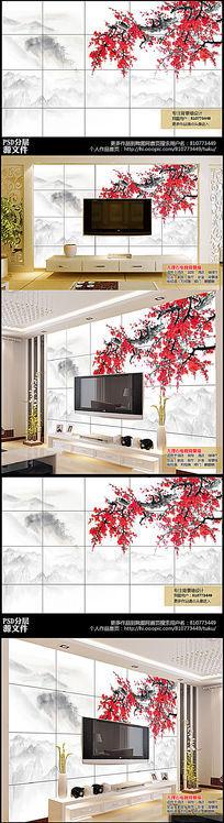 高清水墨中国风梅花瓷砖电视背景墙图下载