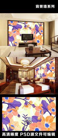简约现代花花朵花纹橙色丰收背景墙