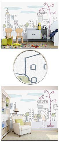 简约线条溜猫的小孩砂岩儿童房背景墙