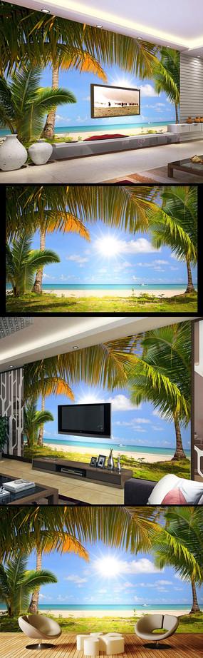 裸眼3D海邊風景海星電視背景墻壁畫