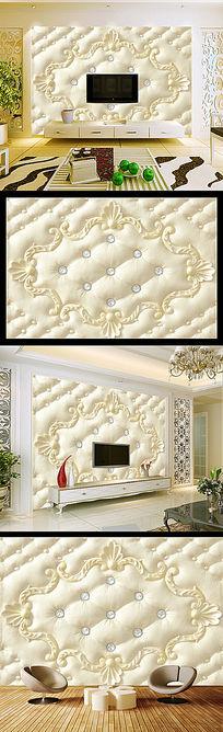 欧式花纹软包电视背景墙