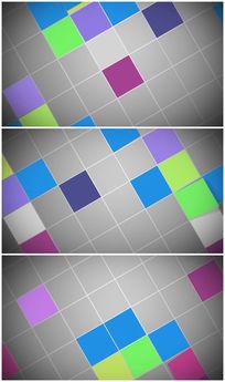 七彩方形方格翻转卡通背景视频素材