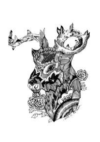 鹿头手绘艺术插画装饰画