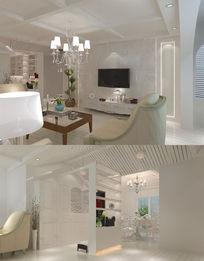 北欧风格客厅餐厅3d模型max