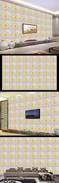高清玉雕拼花背景墙壁画