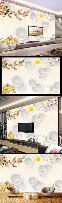 中式3D花鸟电视背景墙装饰画
