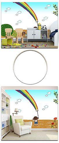 卡通手绘彩虹幼儿园背景墙