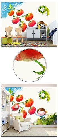 数字番茄彩绘卡通背景墙