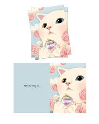 韩国插画香水瓶猫咪本子封面