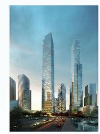 水边建筑玻璃高层建筑表现效果图高档商业街