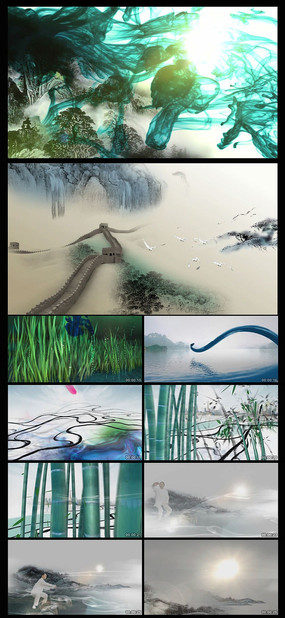 中国水墨动画长城太极山水特效片头高清视频