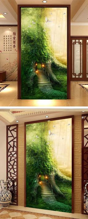 清雅幽静树洞玄关背景墙设计