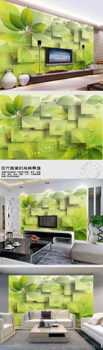 绿色叶子清新时尚背景墙