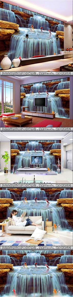 鱼跃龙门流水生财壁画客厅电视背景墙