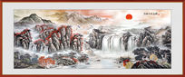 中式高清山水国画客厅墙画