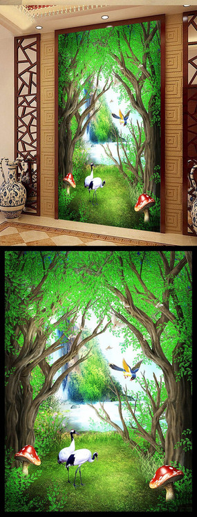 仙境幽静树林玄关背景墙设计