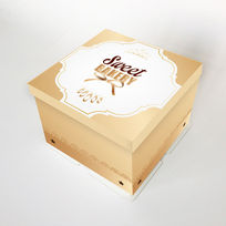 黃色方蛋糕盒插圖