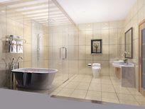 3D淡黄简约洗手间模型和效果图