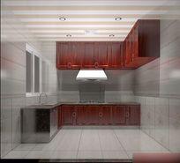 3D红色调简中式厨房模型与效果图