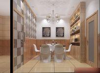 3D黄色简约餐厅模型和效果图