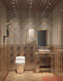 3D简约风格暖色调卫生间模型与效果图