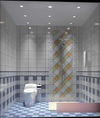 3D蓝色调简约风格卫生间模型与效果图