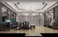 3D深色调中式客厅模型与效果图