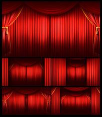 红色幕布帘幕拉开舞台视频