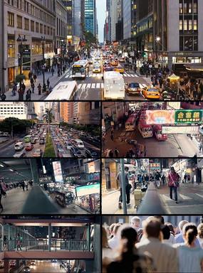 车水马龙车流人潮城市交通视频