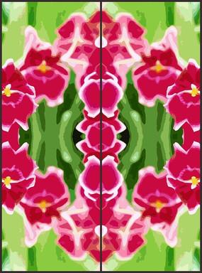 娇艳抽象花朵花纹移门图案