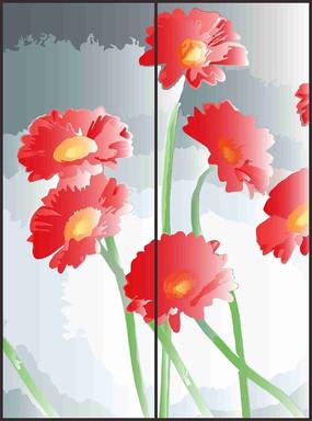 娇艳折枝花朵花纹移门图案