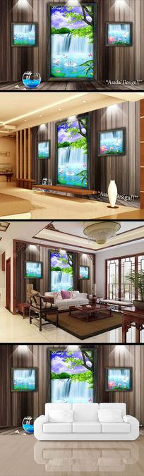 复古门窗风景画山水画3d背景墙