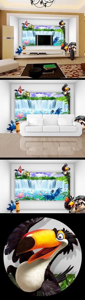 卡通瀑布流水风景画电视背景墙