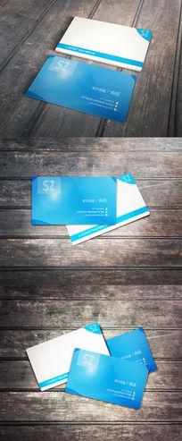 蓝色不规则简约个人商务名片设计