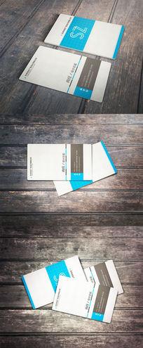 蓝色简约个人商务名片设计