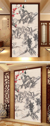 中式中国风水墨画玄关设计