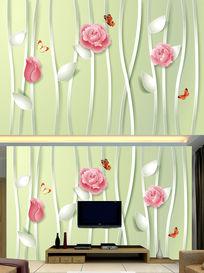 3D立体玫瑰清新电视背景墙