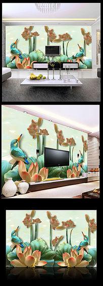 玉雕玉荷花背景墙