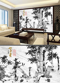 中国风浮雕竹子电视背景墙