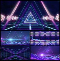 动感光线三角形穿梭舞台视频