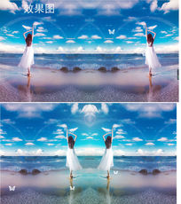 蓝天白云海洋中的女孩背景视频