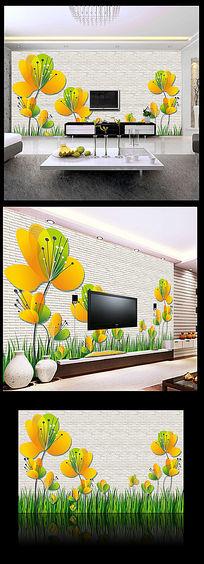 立体马蹄莲电视背景墙