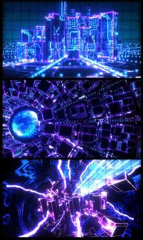 虚拟城市动感快节奏VJ视频